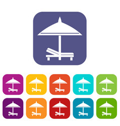bench and umbrella icons set vector image vector image