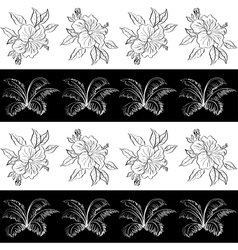 Seamless pattern contour flowers vector image vector image