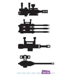 set of spaceship weapons silhouette six vector image vector image