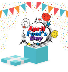 april fools day gift box flag bubble background ve vector image
