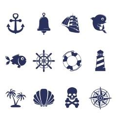 Blue marine symbols on white vector image vector image
