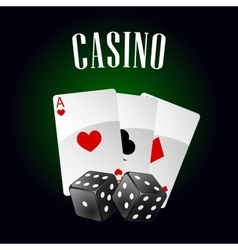 Casino icon with playing cards and dice vector image vector image