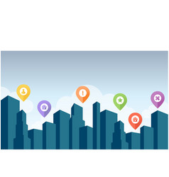 city skyline with pin icon vector image