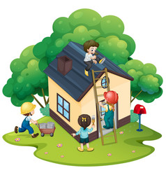 people building house together vector image