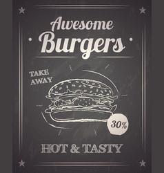 burger monochrome poster on chalkboard vector image
