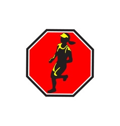 Female Marathon Runner Octagon Retro vector image vector image