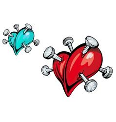 nailed hearts vector image