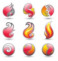 set of fire corporate symbols vector image