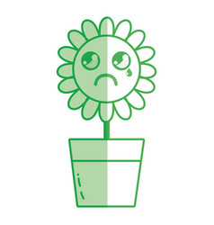 Silhouette kawaii beauty and crying flower plant vector