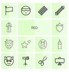 14 red icons vector