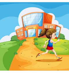 A girl running near the school vector