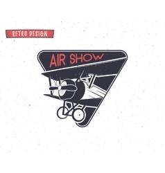 Airshow emblem Biplane label Retro Airplane vector image