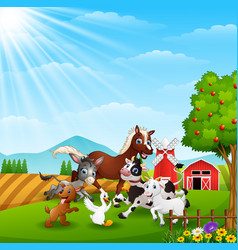 Animals playing together at farm background vector