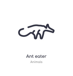 Ant eater outline icon isolated line from animals vector