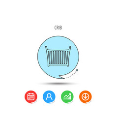 baby crib bed icon cradle or cot sign vector image