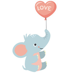Baby elephant holding heart shaped balloon love vector