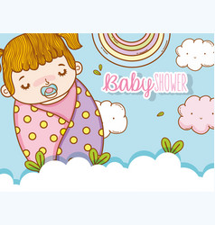 Baby girl in the blanket with pacifier and clouds vector