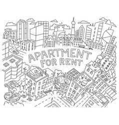 Background for text sketch apartment for rent vector