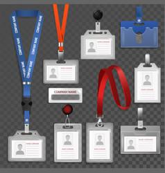 Badge id identification white blank plastic vector