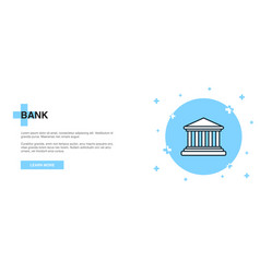 bank icon banner outline template concept bank vector image