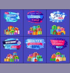 best discount winter sale posters set promo labels vector image
