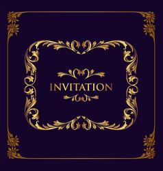 best invitation gold frame vector image