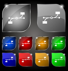 Bezier curve icon sign set of ten colorful buttons vector