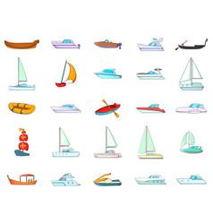 Boat icon set cartoon style vector