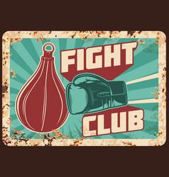 Boxing fight club metal rusty plate box glove bag vector