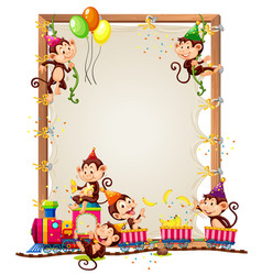 Canvas wooden frame template with monkeys vector