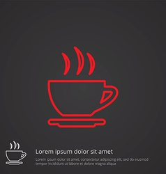 Cap of tea outline symbol red on dark background vector