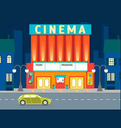 Cartoon building cinema on a city landscape vector