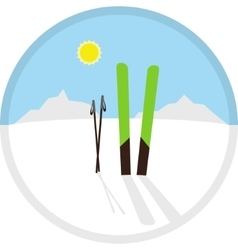 cartoon circle winter symbol icon with skis vector image