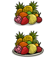 cartoon colorful fruits on tray set vector image