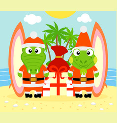 christmas background with alligator and iguana vector image
