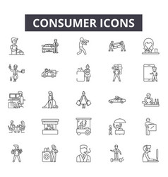 consumer line icons signs set outline vector image