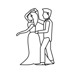 Couple wedding dancing outline vector