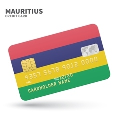 Credit card with mauritius flag background for vector