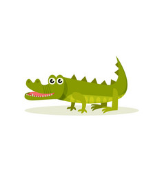 cute green crocodile with big shiny eyes standing vector image