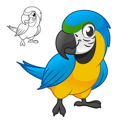 Cute happy blue and gold macau parrots standing vector