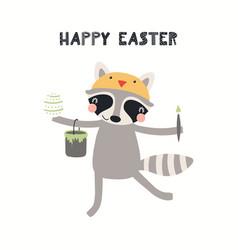 Cute raccoon easter card vector