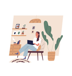 Cute young woman sitting on comfy chair with vector