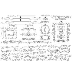 Doodle Floral borderframedecor elementHand vector