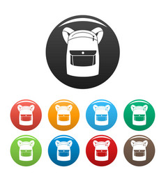 emmo backpack icons set color vector image