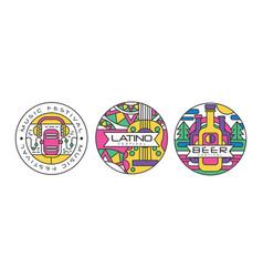 Festival logos set music latino beer festival vector