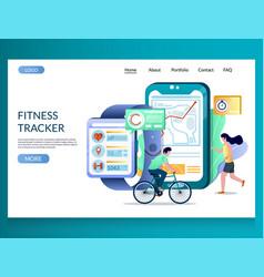 fitness tracker website landing page design vector image