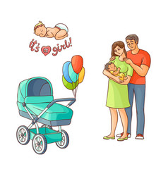 Flat adult couple infant baby stroller vector