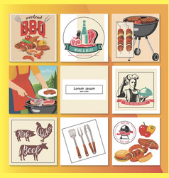 Flat bbq party composition vector