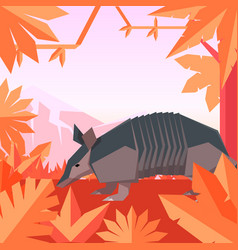 Flat geometric jungle background with armadillo vector