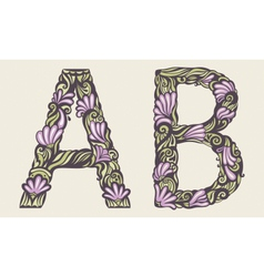 floral font vector image